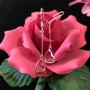 Jewelry - Sterling Silver Heart Dangle Earrings